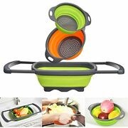 Goodking 3 Pack Collapsible Colander Set Over The Sink Food Colanders Strainers