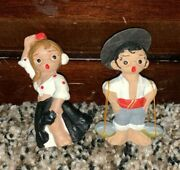 Lot Of 2 Small Miniature Figurines Wooden Boy And Girl Spanish Mud Figures