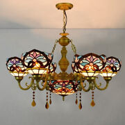 Baroque Stained Glass Chandelier Ceiling Light Pendant Lamp Fixture