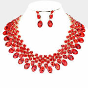 Luxe Gorgeous Gold Siam Red Crystal Collar Cocktail Necklace Set Rocks Boutique