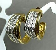 Vintage 14k Yellow And White Gold Diamonds Half Hoop Pierced Post Earrings