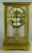 Mantle Clock Ansonia Brass And Glass Mantle Clock