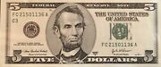 Extremely Rare Misprint Crisp Uncirculated 2003a 5 Dollar Federal Reserve Note