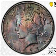 1925 Peace 1 Pcgs Ms63 Exceedingly Rare Textile Color Coin Mikesartifacts