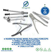 Orthopedic Rod And Cable Cutters/ Wire Pulling And Plate Cutting Forceps Set Of 5pcs
