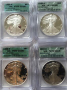 6 Coin Lot American Eagle Proofs Pr-70 Icg 1986s1987s1988s1989s1997p1999p