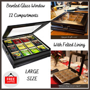 Tea Bag Chest Large Storage Wooden With Beveled Glass Window 12 Compartments