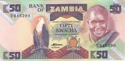 1986 50 Kwacha Bank Of Zambia Currency Unc Banknote Note Money Bill Cash Africa
