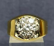 Vintage 14k Yellow Gold W/diamond Kentucky Cluster Ring 1.3cts T.d.w.