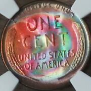 1958-d Lincoln 1c Ngc Ms66rb Colorful Mint Set Rainbow Toner Mikesartifacts