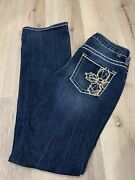 Jag Jeans Womens Mid Rise Boot Leg Size 6x32.5 Dark Wash With Design On Back