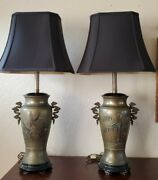 Vintage Marbro Lamp Co. Pair Table Lamps Mixed Metal Brass Bronze Asian Silk