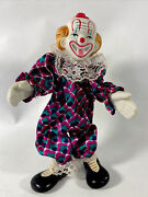 """Vintage Porcelain Clown, Stands 8 """" Tall Hands, Shoes And Head Are Porcelain"""