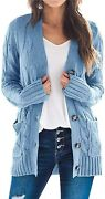 Fekermia Womens Plus Size Button Down Long Sleeve Cardigan Sweaters Open Front C