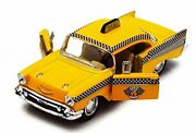 1957 Chevy Bel Air Taxi Cab Yellow - Kinsmart 5360d - 1/40 Scale Diecast Model