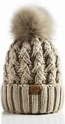Page One Womens Winter Ribbed Beanie Crossed Cap Chunky Cable Knit Pompom Soft W