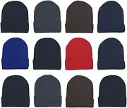 12 Pack Winter Beanie Hats For Men Women Warm Cozy Knitted Cuffed Skull Cap Wh