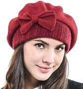Fandn Story Lady French Beret Wool Beret Chic Beanie Winter Hat Jf-br034