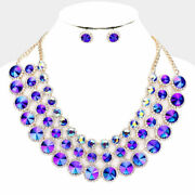 Luxe Rare Gold Blue Fire Vibrant Crystal Cocktail Necklace Set Rocks Boutique