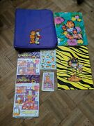 Vintage Lot Mead Garfield 3-ring Binder Trapper Keeper Embroidered Stickers Plus