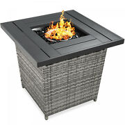 Fire Pit Table 50,000 Btu Wicker Propane W/ Faux Wood Tabletop, Cover, 28 Inch