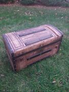 Antique Wooden Trunk Late 1800s Unique Design Great Display Piece