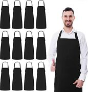 Utopia Kitchen 12 Pack Bib Aprons Bulk 32-inch By 28-inch With Extra Long Ties