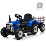 Ride On Tractor Car With Trailer Remote Control Music Electric Toy 12v Lights