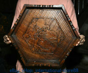 14.4 Old Chinese Huanghuali Wood Carving Pine Bridge Pavilion Tray Plate