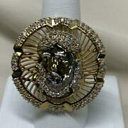 1 Ct Round Sim Diamond Menand039s Jesus Face Coin Ring 14k Yellow Gold Finish Sliver