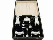 Antique George Vi Sterling Silver Condiment Set Stokes And Ireland Ltd 1938