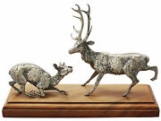 Victorian Sterling Silver Deer And Stag Table Ornament