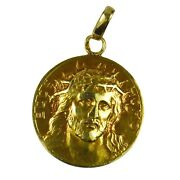 French 18k Yellow Gold Ecce Homo Jesus Christ Crown Of Thorns Charm Pendant