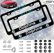 2pcs Miami Dolphins Liscense Plate Frames Universal Fit Aluminum Tag Cover Gift