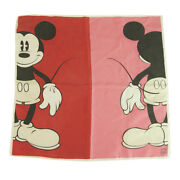 Donaldson Disney Mickey Mouse Red And Pink Silk Square Print Scarf