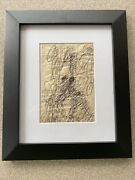 """Purvis Young Original Signed """"doodles"""" Ink Drawing Horses And Riders Coa"""
