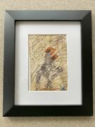 """Purvis Young Original Blue And Orange """"doodles"""" Horses And Riders Coa"""