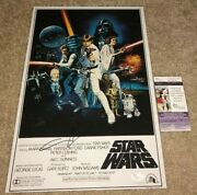 Director George Lucas Signed 12x18 Movie Poster Photo A New Hope Cast Jsa