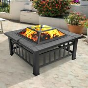 Square Fire Pit Outdoor Patio Heater Deck Backyard Metal Fireplace Bowl W/ Cover