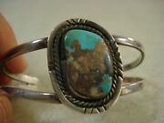 Old Pawn Boulder Turquoise Sterling Silver Cuff Bracelet Nice