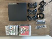 Sony Ps3 Slim Console Bundle Lot 17 Games 3 Controllers Tested