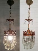 Matching / Pair Of Antique Vintage Brass And Crystals French Small Chandelier Lamp
