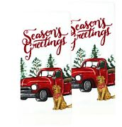 Kitchen Drying Hand Towels Set Of 2 Vintage Red Truck And Dog Seasons Greetings