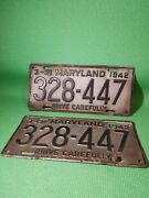 2 Vintage Antique 3-31 Maryland 1942 328-447 Drive Carefully License Plates Tags