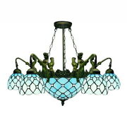 Misson Style Chandelier Stained Glass Mermaid Deco Pendant Ceiling Light