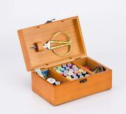 A.dinsenen Wooden Sewing Basket With Sewing Kit Accessoriessewing Box