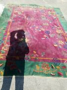 Antique Art Deco Chinese Asian Rug 9 X 12 Must See - Local Pickup Delivery Only