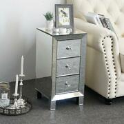 Modern Mirrored Nightstand End Table Bedside Mirrored End Table Side Table