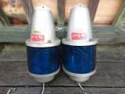 2 Federal Signal Beacon Ray 27s Blue Revovling Lights Security Warning Lights
