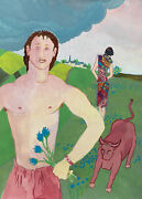 Jean Marc 1949-2019 20th Century French Modernist Painting - Man With Bull